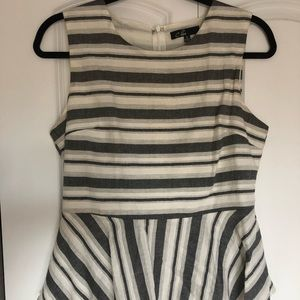 Striped grey and white peplum top, size M